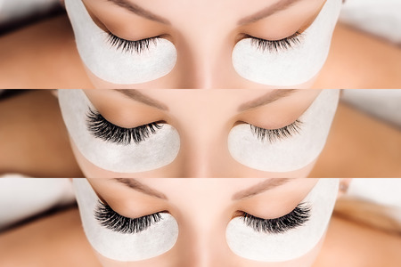 Eyelash Extension. Comparison of female eyes before and after. Stock Photo