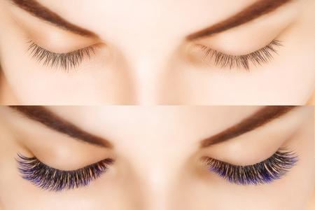 Przedłużanie rzęs. Porównanie kobiecych oczu przed i po. Rzęsy w kolorze niebieskim ombre. Zdjęcie Seryjne
