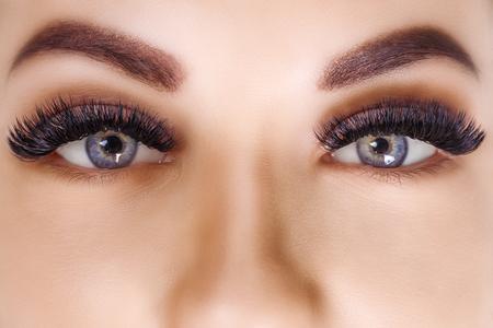 Verfahren zur Wimpernverlängerung. Frauenauge mit langen Wimpern. Nahaufnahme, selektiver Fokus. Hollywood, russisches Volumen