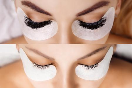 Wimperverlenging. Vergelijking van vrouwelijke ogen voor en na. Hollywood, Russisch deel Stockfoto