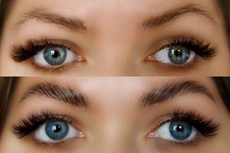 Rostro femenino antes y después de la corrección de cejas. Bella mujer con largas pestañas en un salón de belleza.