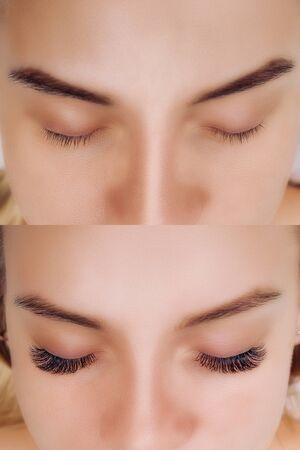 Wimpernverlängerung. Vergleich der weiblichen Augen vorher und nachher.