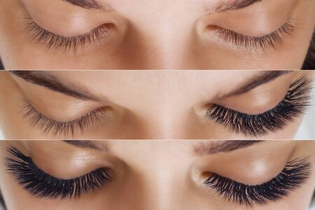 Comparison of female eyes before and after eyelash extension
