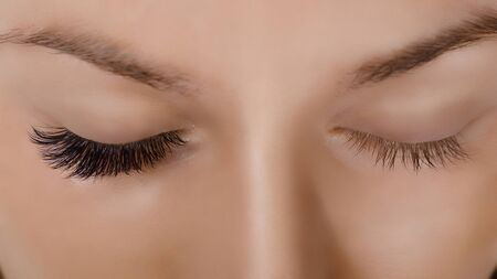 Eyelash Extension Procedure. Close up view of beautiful female eye with long eyelashes, smooth healthy skin. Banque d'images