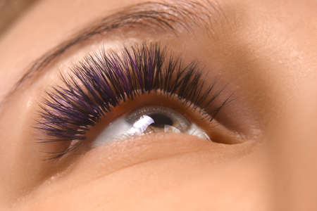 Eyelash Extension Procedure. Close up view of beautiful female eye with long eyelashes, smooth healthy skin. Foto de archivo