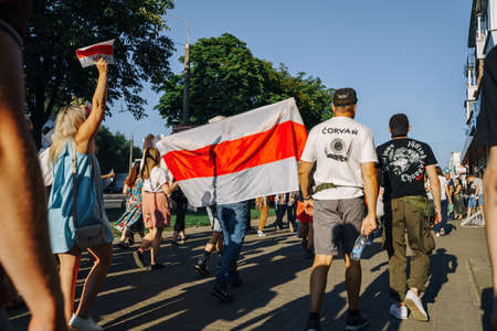 VITEBSK, BELARUS - August 16, 2020: Peaceful protest in Vitebsk. Protest action against violence after dispersal of peaceful demonstrators, arrests, bullying in prisons. Consequences of rigging the presidential elections in Belarus 写真素材