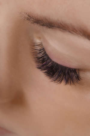 Eyelash Extension Procedure. Close up view of beautiful female eye with long eyelashes, smooth healthy skin. 写真素材