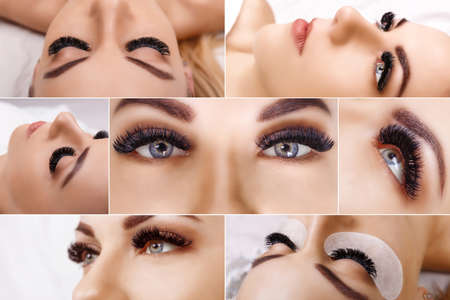 Eyelash extension procedure. Beautiful Woman with long lashes in a beauty salon. Collage.