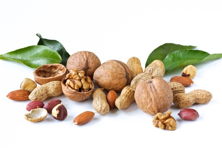 Assortment of  tasty nuts. Healthy food concept.