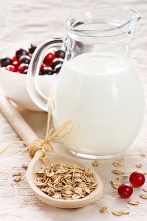 oats: Tasty oat flakes on a spoon, milk and berries. Stock Photo
