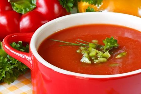 salsa de tomate: Sopa de tomate sabroso con hierbas y piment�n verde. Foto de archivo