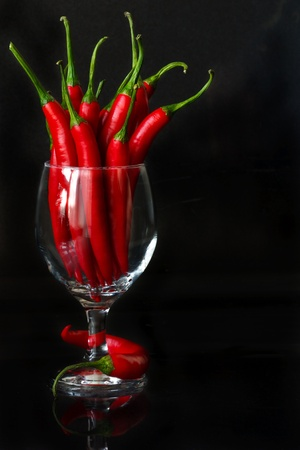 Hot chili in a wine glass on a black background.