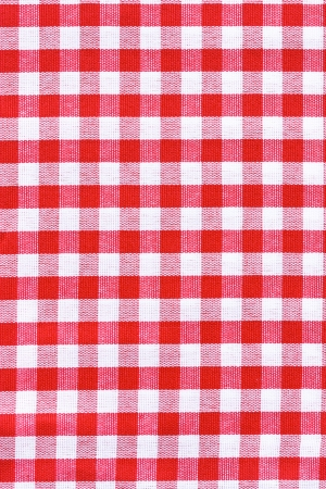 kitchen detail: Red and white tablecloth   Provence style  Stock Photo