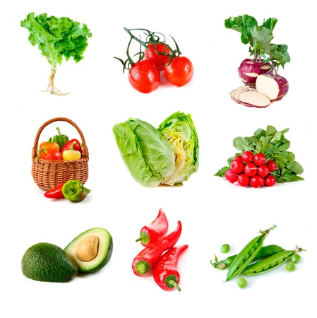 Collection of fresh ripe vegetables on white background. photo