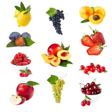 Collection of fresh ripe fruits and berries on white background. photo