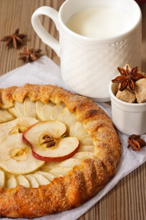Delicious apple pie with spices and mug of milk. photo