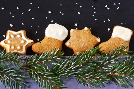 Christmas gingerbread cookies and spruce branch with snow. photo