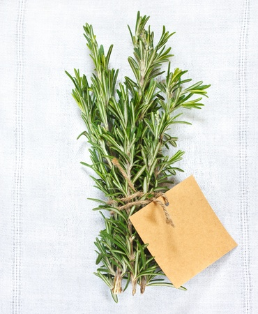 Bunch of fresh rosemary with tag on a white linen napkin. photo