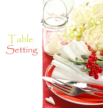 Red and white romantic table setting. photo