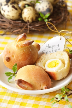 Sweet Easter bunny buns and eggs  photo