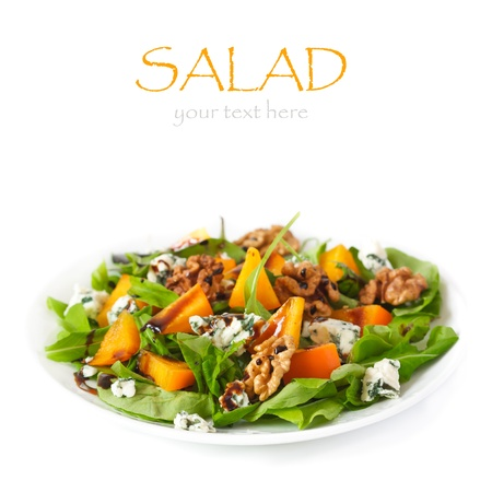 balsamic vinegar: Delicious salad  Fresh arugula, persimmon, blue cheese and walnuts with balsamic vinegar