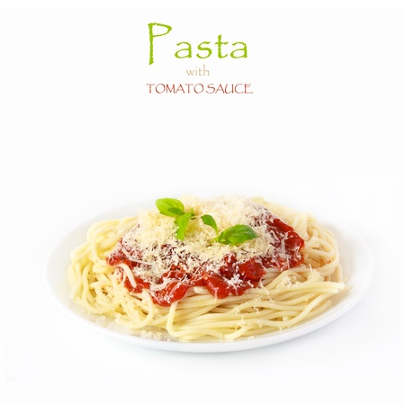 Pasta spaghetti with tomato sauce, cheese and basil  Stock Photo - 18005342