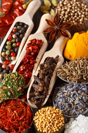 on herb: Colorful aromatic ingtedients  Dry spices and herbs  Stock Photo