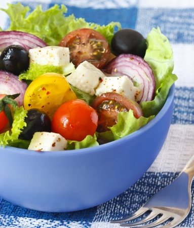 Delicious Greek salad for dinner  photo