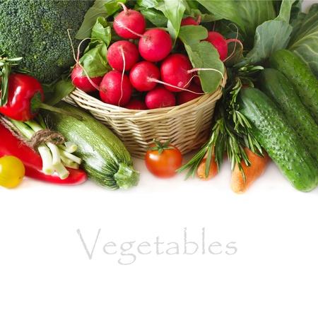 白地に新鮮な熟した野菜 写真素材