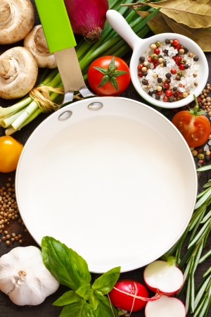 space for copy: White frying pan with copy space for note or recipe surrounded by food ingredients