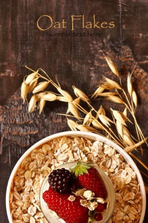 Organic oat flakes with yogurt and berries  photo