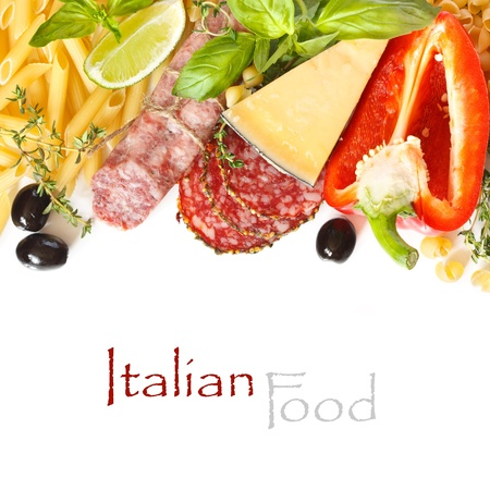 Italian food  Ingredients for cooking on a white background  with copy space   photo