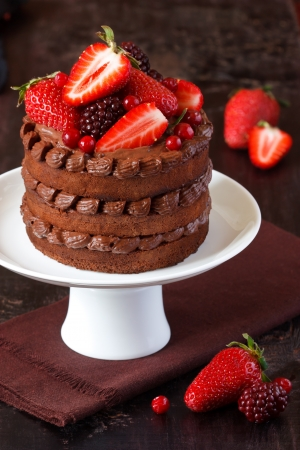 dessert stand: Delicious chocolate cake with cream and berries on a cake stand.