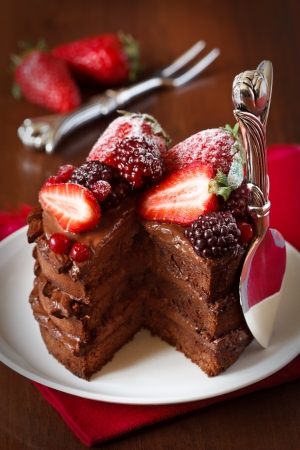 Delicious chocolate cake with cream and berries close up  Stockfoto