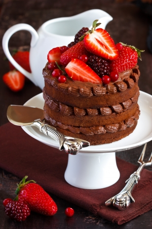 Delicious chocolate cake with cream and berries on a cake stand