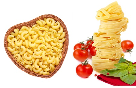 Collection with various italian pasta on a white background  photo