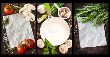 recipe card: Place for note or recipe surrounded by food ingredients  Collage  Stock Photo