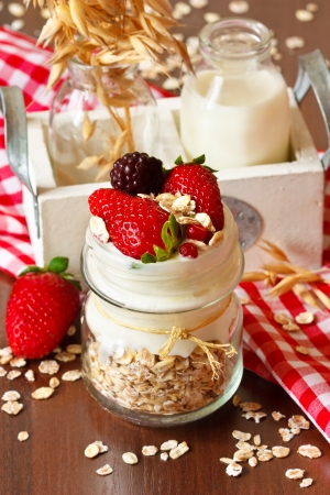 Fresh yogurt with oat flakes and berries  photo