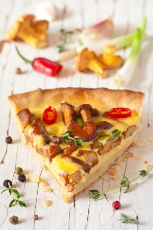 Delicious homemade pie with chanterelle mushrooms and vegetables. photo