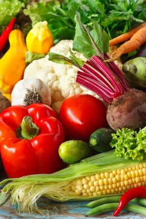 Fresh ripe vegetables bakground. Stockfoto