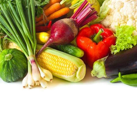 Fresh ripe vegetables on a white background