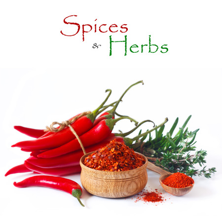 Fresh and dried hot chili peppers with herbs photo