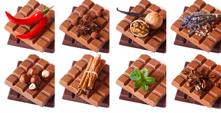 Dark and milk chocolate bars with aromatic ingredients on white. Sweet collage. photo
