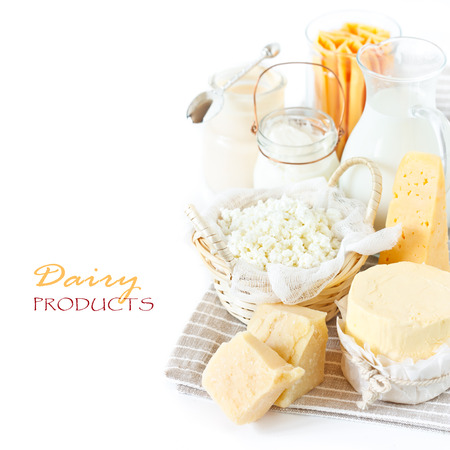 Fresh dairy products in the gray linen napkin. Rustic style.