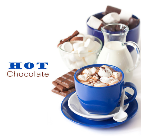 Delicious hot chocolate with marshmallow on white background. photo