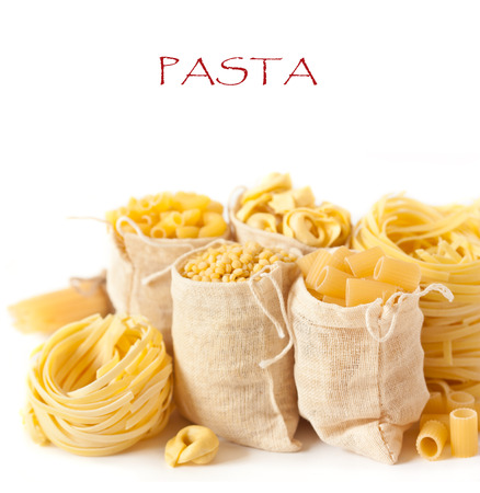 pasta isolated: Assortment of pasta on a white background. Stock Photo