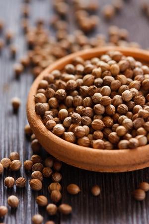 cilantro: Semillas de cilantro en un tazón close-up.