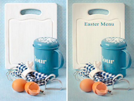 napkin ring: Old white kitchen cutting board with copy-space for writing menu, vintage flour strainer napkin and napkin ring, whisk and eggs. Original and toned photo. Collage. Stock Photo
