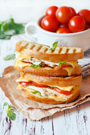 Grilled cheese sandwiches with chicken and vegetables.
