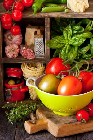 Italian food. Fresh food ingredients for cooking. photo